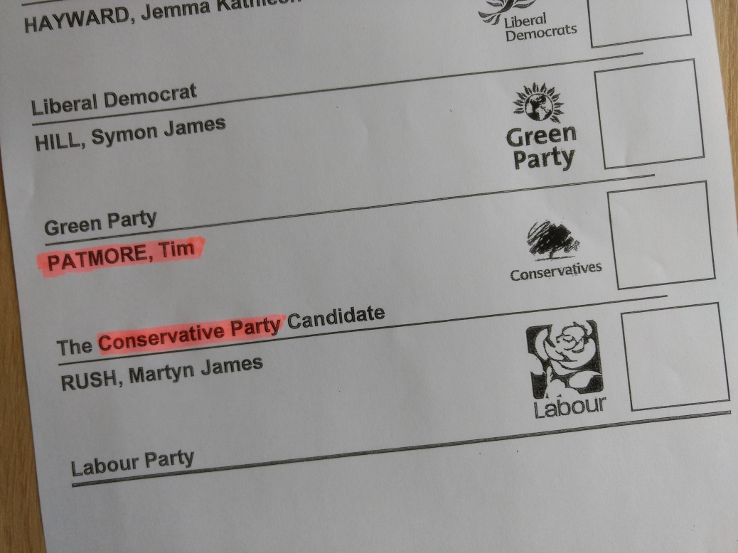 Oxford City Council election vote sheet with Tim Patmore (Conservative Party)highlighted